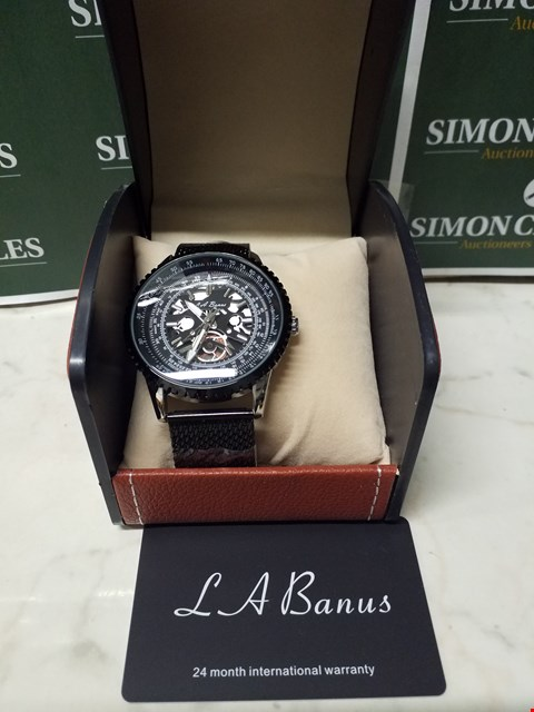 Lot 4580 L. A BANUS BLACK TIMER DIAL STAINLESS STEEL SKELETON WATCH WITH BLACK METAL WRIST STRAP