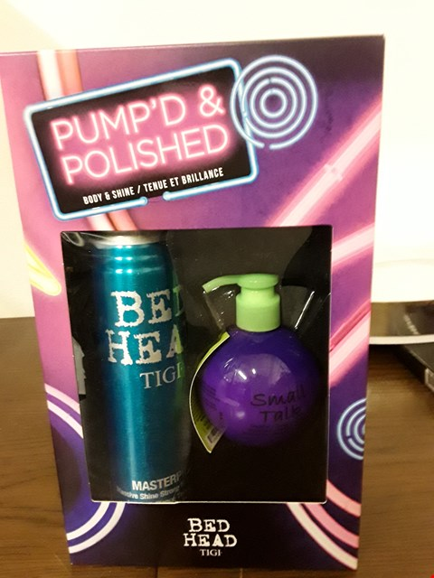 Lot 7022 BOXED TIGI BED HEAD PUMP'D &  POLISHED SET