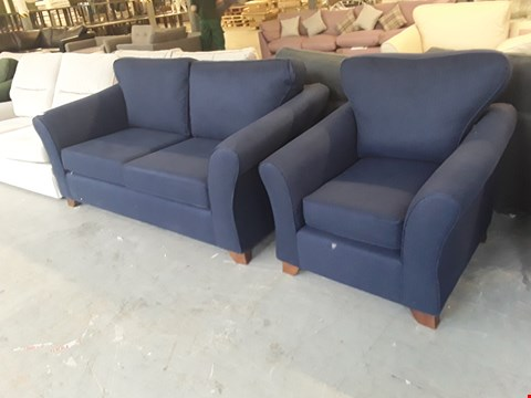 Lot 9 QUALITY BRITISH DESIGNER NAVY FABRIC ABBEY 2 SEATER SOFA AND ARMCHAIR