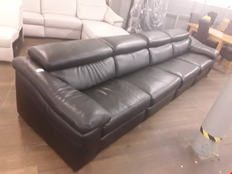 Lot 620 QUALITY ITALIAN SANREMO BLACK LEATHER UPHOLSTERED 6 SEATER POWER RECLINING SOFA