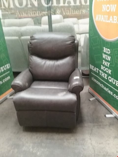 Lot 4 QUALITY BRITISH MADE HARDWOOD FRAMED GREY WEATHERED LEATHER RECLINING ARMCHAIR