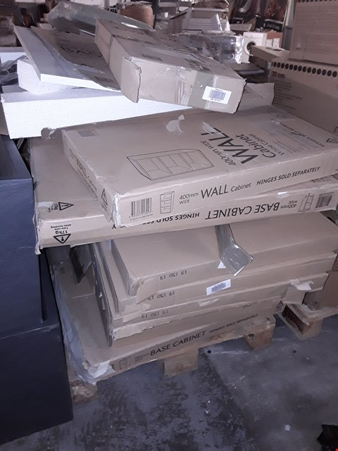Lot 1015 PALLET OF APPROXIMATELY FLAT PACK KITCHEN UNITS & FITTINGS, INCLUDING, STANDARD WALL CABINETS, BASE CABINETS, BASE END CABINETS, IVORY WINE RACK, MULTI DRAWER BASE,SHELVING UNITS, RRP £1165.00
