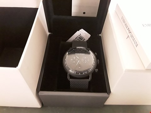 Lot 1269 EMPORIO ARMANI BLACK CHRONOGRAPH DIAL BLACK IP STAINLESS STEEL MESH STRAP MENS WATCH RRP £299.00
