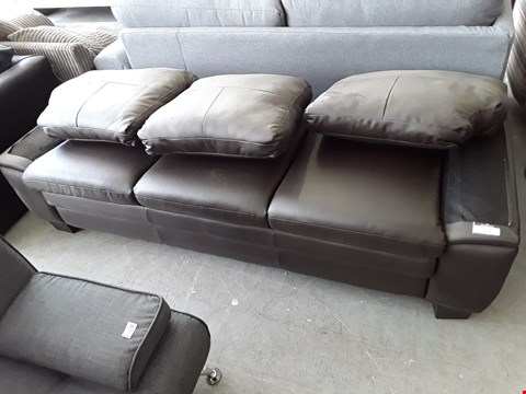Lot 56 BROWN FAUX LEATHER THREE SEATER SOFA (INCOMPLETE)