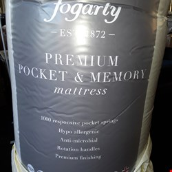 Lot 7033 QUALITY BAGGED 135X190CM DOUBLE FOGARTY PREMIUM POCKET & MEMORY MATTRESS