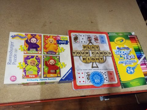 Lot 2033 A TELETUBBIES PUZZLE, A PLAY YOUR CARDS RIGHT GAME AND A PACK OF APPROXIMATELY 24 WASHABLE  MARKERS