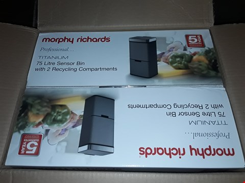 Lot 134 MORPHY RICHARDS PRO 75L SENSOR BIN WITH 2 RECYCLE BINS - TITANIUM RRP £200