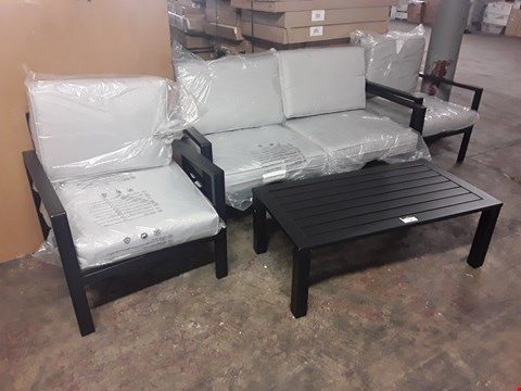 Lot 70 DESIGNER BLOOMA METAL FRAMED PATIO SET WITH GREY FABRIC CUSHIONS