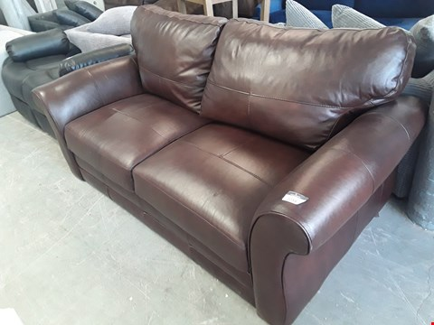 Lot 18 DESIGNER BROWN LEATHER 3 SEATER SOFA