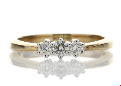 Lot 3 18ct YELLOW GOLD THREE STONE CLAW SET DIAMOND RING 0.25ct  RRP £2800