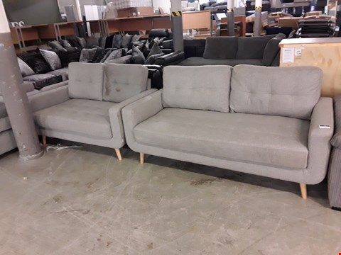 Lot 361 DESIGNER GREY FABRIC MODERNIST STYLE 2 & 3 SEATER SOFAS ON WOODEN LEGS