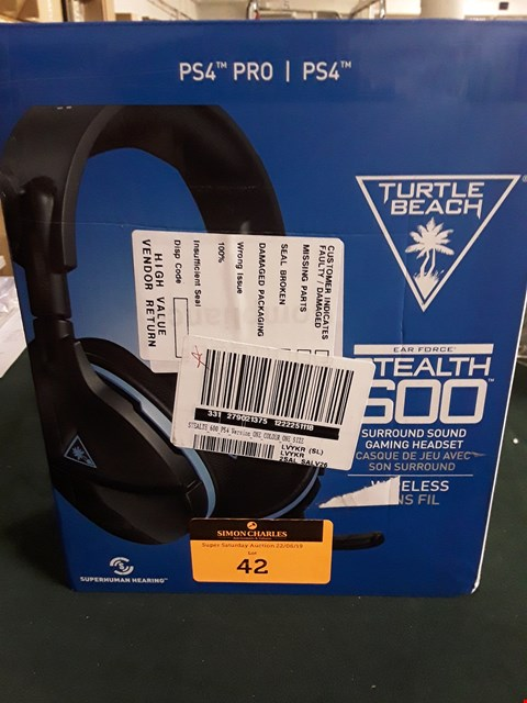Lot 42 BOXED TURTLE BEACH STEALTH 600 PS4 PRO SURROUND SOUND GAMING HEADSET