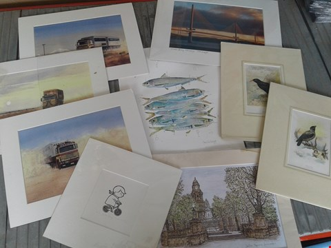 Lot 22 NINE ASSORTED PICTURES AND PRINTS, INCLUDING SIGNED AND MOUNTED BIKE BOY AP AND ORIGINAL WATERCOLOUR