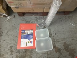Lot 298 PALLET OF ASSORTED COOKWARE AND CROCKERY TO INCLUDE SEALFRESH FOOD STORAGE CONTAINERS, 12OZ GOBLETS, UTOPIA TULIP GLASSES, HIGH DENSITY CHOPPING BOARD, ECT