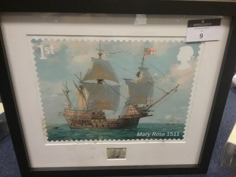 Lot 9 FRAMED ROYAL NAVY SHIPS ENLARGEMENT OF THE MARY ROSE STAMP
