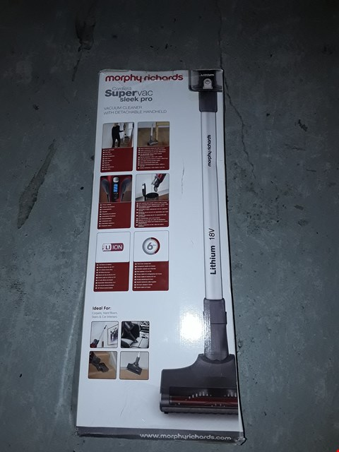 Lot 12723 MORPHY RICHARDS CORDLESS SLEEK PRO VACUUM WITH DETACHABLE HEAD