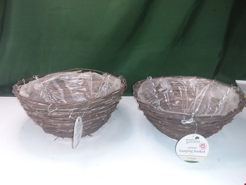 Lot 1428 2 X KINGFISHER RATTAN HANGING BASKETS