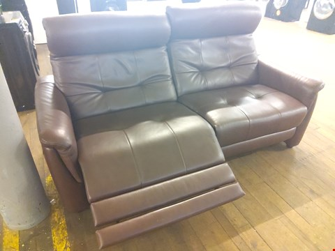 Lot 134 QUALITY ITALIAN BROWN LEATHER UPHOLSTERED PEGASUS ELECTRIC 3 SEATER SOFA