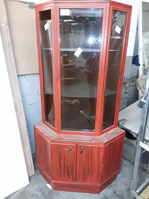 Lot 743 PAINTED RED CORNER GLASS DISPLAY CABINET WITH 3-DOORS