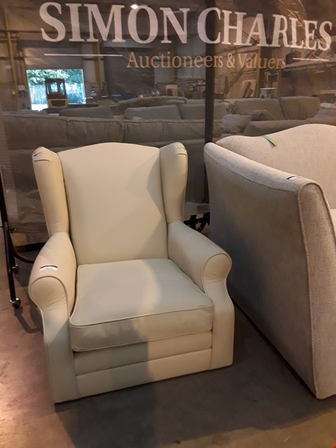 Lot 9014 QUALITY BRITISH DESIGNER CREAM LEATHER WINGED BACK EASY CHAIR