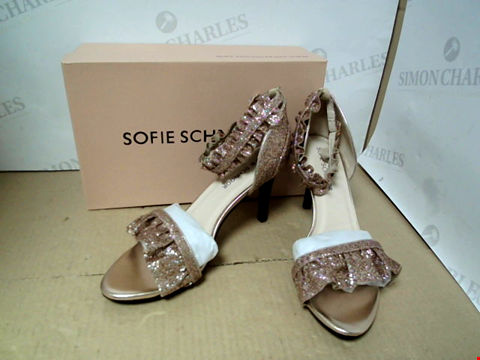 Lot 7071 SOFIE SCHNOOR METALLIC FRILL TRIMMED CHAMPAGNE HEELED SANDALS - SIZE 40