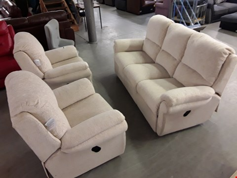 Lot 83 QUALITY DESIGNER EMERALD BEIGE 3-SEATER MANUALLY RECLINING SOFA WITH TWO MANUALLY RECLINING ARMCHAIRS  RRP £2919.98
