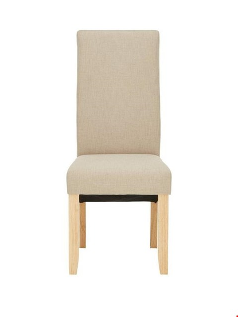 Lot 38 BOXED PAIR OF DESIGNER CHATHAM LINEN FABRIC AND OAK-EFFECT DINING CHAIRS (1 BOX) RRP £149