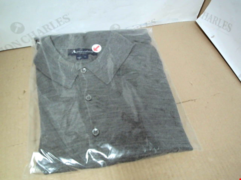 Lot 7166 AQUASCUTUM KENNINGTON KNITTED LONG SLEEVE GREY POLO SHIRT - SIZE MEDIUM