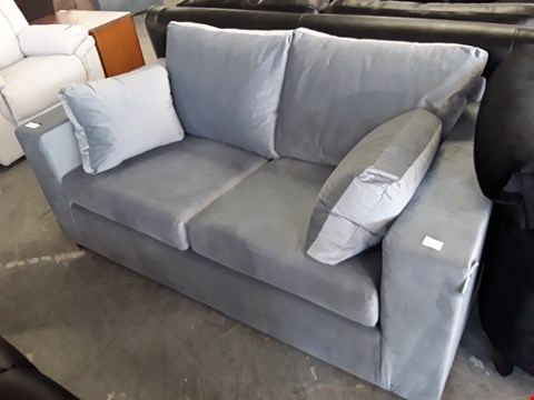 Lot 334 DESIGNER SILVER GREY PLUSH VELVET 2 SEATER METAL ACTION SOFA BED