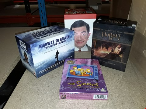 Lot 4097 JOB LOT OF ASSORTED DVD BOXSETS AND GAMES TO INCLUDE THE HOBBIT, THE SIMPSONS,  MR BEAN(4 BOXES)