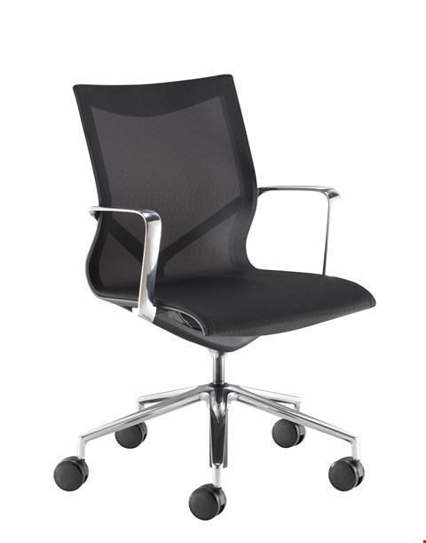 Lot 15029 BRAND NEW BOXED FLEX EXECUTIVE MID BACK MESH CHAIR BLACK