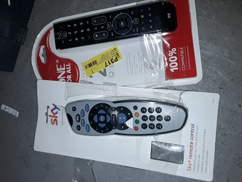 Lot 1487 BOX OF APPROXIMATELY 17 TV REMOTES TO INCLUDE SKY REMOTE AND ONE FOR ALL ESSENCE 2 REMOTE ( BOX NOT INCLUDED)