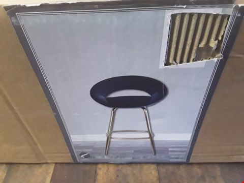 Lot 2108 DESIGNER BOXED BLUE PLUSH VELVET AND BRASS EFFECT STOOL