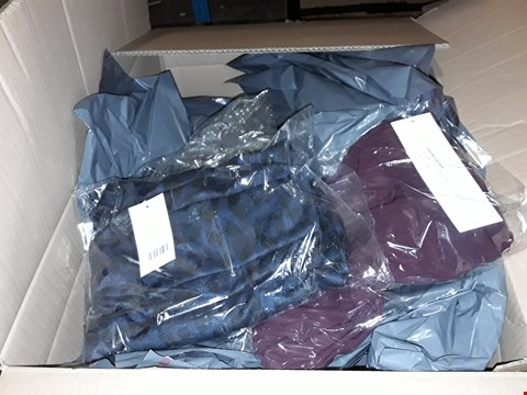 Lot 394 A BOX OF APPROXIMATELY 30 ASSORTED CLOTHING ITEMS TO INCLUDE,  ANAMOR PULL ON RIB TROUSERS 29INCH WINE SIZE 16 AND STYLED BY ANIMAL COWL NECK POCKET TOP NAVY 5 ETC