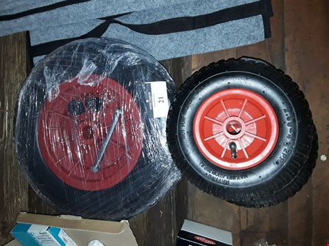 Lot 21 PAIR SACK TRUCK WHEELS & TYRES & WHEELBARROW WHEEL & TYRE