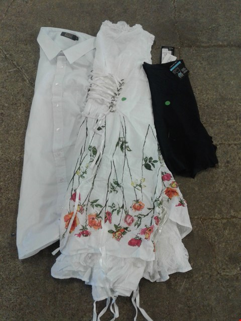 Lot 229 BOX OF APPROXIMATELY 25 CLOTHING ITEMS TO INCLUDE BLACK SPANDEX, WHITE FLORAL PATTERN DRESS AND WHITE POLO SHIRT - VARIOUS SIZES