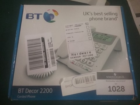 Lot 1028 BT DECOR 2200 CORDED PHONE RRP £39.99