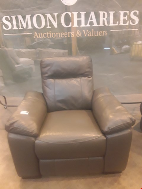 Lot 9148 DESIGNER GREY LEATHER POWER RECLINING EASY CHAIR