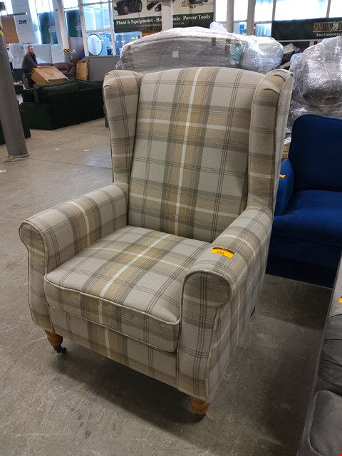 Lot 130 DESIGNER BRIFE CHECK FABRIC ARMCHAIR ON CASTERS