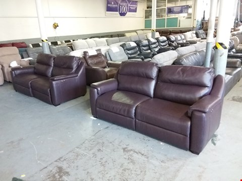 Lot 27 PAIR OF DESIGNER AVILA ITALIAN BROWN LEATHER ELECTRIC RECLINING 3-SEATER SOFAS