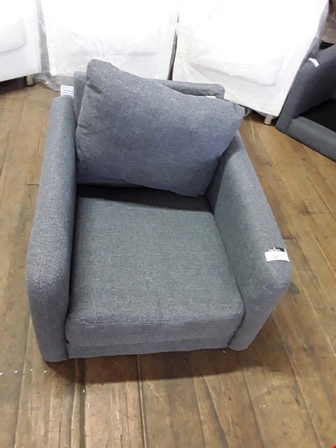 Lot 387 DESIGNER GREY FABRIC ARMCHAIR  RRP £299