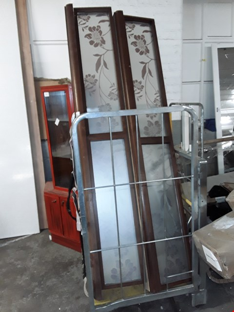 Lot 744 2 LARGE FURNITURE PARTS WITH FLORAL FROSTED GLASS PANES