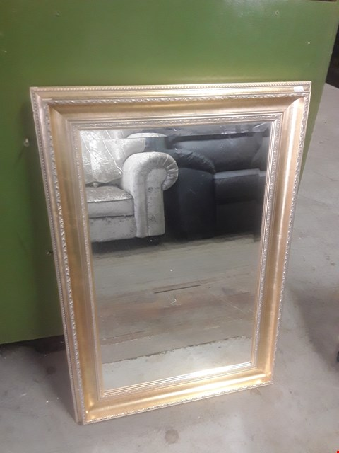 Lot 595 RECTANGULAR MIRROR WITH A GOLD FRAME TOTAL SIZE APPROXIMATELY 58X84CM