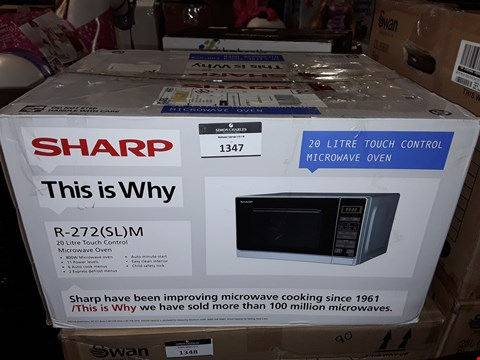 Lot 1347 SHARP R-272SLM 20 LITRE TOUCH CONTROL MICROWAVE OVEN RRP £89