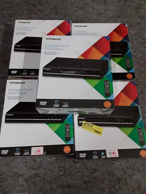 Lot 1381 LOT OF 5 ASSORTED POLAROID DVD PLAYERS