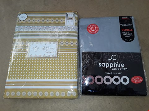 Lot 6044 LOT OF 2 ITEMS TO INCLUDE MADE WITH SPIRIT DOUBLE DUVET COVER AND SAPPHIRE COLLECTION DOUBLE LEATHER FITTED SHEET
