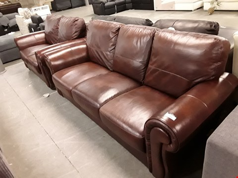 Lot 5 DESIGNER BROWN FAUX LEATHER 2 AND 3 SEATER SOFAS