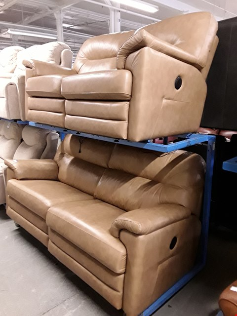 Lot 1004 QUALITY BRITISH MADE, HARDWOOD FRAMED TAN LEATHER POWER RECLINING 2 AND 3 SEATER SOFAS