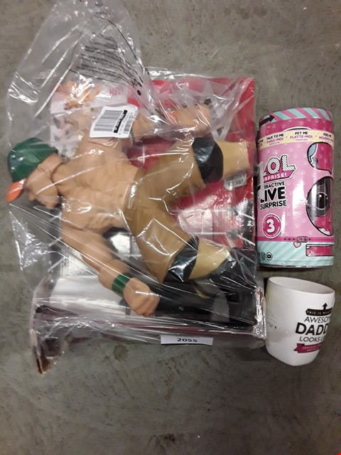 Lot 2055 LOT OF 4 ASSORTED ITEMS TO INCLUDE WWE COUNT CRUSHERS JOHN CENA, LOL INTERACTIVE LIVE SURPRISE, PERSONALISED AWESOME DADDY MUG RRP £114