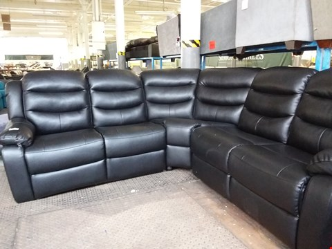 Lot 46 DESIGNER FAUX BLACK LEATHER ROTHBURY MANUAL RECLINER CORNER GROUP